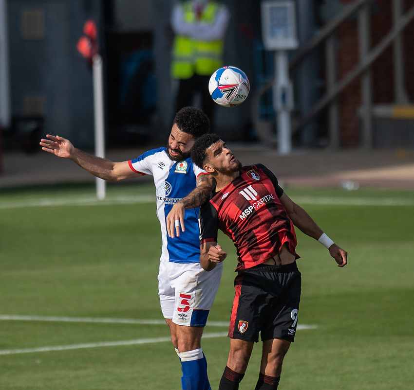 Blackburn Rovers' Derrick Williams (left) battles for possession with Bournemouth's Dominic Solanke (right) <br /> <br /> Photographer David Horton/CameraSport <br /> <br /> The EFL Sky Bet Championship - Bournemouth v Blackburn Rovers - Saturday September 12th 2020 - Vitality Stadium - Bournemouth<br /> <br /> World Copyright © 2020 CameraSport. All rights reserved. 43 Linden Ave. Countesthorpe. Leicester. England. LE8 5PG - Tel: +44 (0) 116 277 4147 - admin@camerasport.com - www.camerasport.com