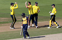 Kyle Abbott of Hampshire celebrates taking the wicket of Ravi Bopara during Hampshire vs Essex Eagles, Vitality Blast T20 Cricket at the Ageas Bowl on 25th August 2019