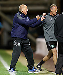 Hibs assistant manager Billy Brown pumps his fists with delight as Hibs level the match late on