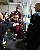 Jimmy Hayes (BC - 10), John Hegarty (BC - Dir-Hockey Operations) - The Merrimack College Warriors defeated the Boston College Eagles 5-3 on Sunday, November 1, 2009, at Lawler Arena in North Andover, Massachusetts splitting the weekend series.