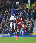 Yannick Bolasie of Everton is challenged by Danny Ings of Liverpool during the premier league match at Goodison Park Stadium, Liverpool. Picture date 7th April 2018. Picture credit should read: Robin Parker/Sportimage