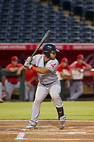 AZL Indians designated hitter Felix Fernandez (9) bats during a game against the AZL Angels on August 7, 2017 at Tempe Diablo Stadium in Tempe, Arizona. AZL Indians defeated the AZL Angels 5-3. (Zachary Lucy/Four Seam Images)