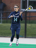 College Park, MD - April 19, 2018: Penn State Nittany Lions Bridget Chakey (14) passes the ball during game between Penn St. and Maryland at  Field Hockey and Lacrosse Complex in College Park, MD.  (Photo by Elliott Brown/Media Images International)