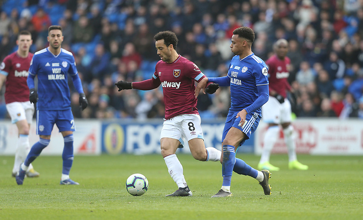 West Ham United's Felipe Anderson and Cardiff City's Josh Murphy<br /> <br /> Photographer Rob Newell/CameraSport<br /> <br /> The Premier League - Cardiff City v West Ham United - Saturday 9th March 2019 - Cardiff City Stadium, Cardiff<br /> <br /> World Copyright © 2019 CameraSport. All rights reserved. 43 Linden Ave. Countesthorpe. Leicester. England. LE8 5PG - Tel: +44 (0) 116 277 4147 - admin@camerasport.com - www.camerasport.com