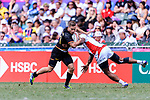 Marvin Dieckmann of Germany (L) fights for the ball with Josefa Lilidamu of Japan (R) during the HSBC World Rugby Sevens Series Qualifier Final match between Germany and Japan as part of the HSBC Hong Kong Sevens 2018 on 08 April 2018 in Hong Kong, Hong Kong. Photo by Marcio Rodrigo Machado / Power Sport Images