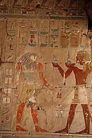 Afrique/Egypte/Deir El Bahari: Le temple d'Hatchepoust - Chapelle d'Anubis - Anubis et Pharaon
