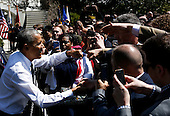 United States President Barack Obama greets the public at the end of the Wounded Warrior Ride at the White House, in Washington, DC, April 14, 2016.  The event helps raise awareness to the public about severely injured veterans and provides rehabilitation opportunities. <br /> Credit: Aude Guerrucci / Pool via CNP