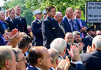 First responders stand after being introduced by United States President Donald J. Trump as he makes remarks prior to signing H.R. 1327, an act to permanently authorize the September 11th victim compensation fund, in the Rose Garden of the White House in Washington, DC on Monday, July 29, 2019. <br /> Credit: Ron Sachs / Pool via CNP/AdMedia