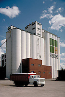 A big Hubbard grain elevator. agricultural structures, storage. South Dakota.