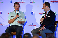 Potomac, MD - May 15, 2017: 2016 Quicken Loans National Champion Billy Hurley III holds a media conference at TPC Potomac May 15, 2017 in Potomac, MD. The conference was moderated by tournament director Mike Antolini. (Photo by Don Baxter/Media Images International)