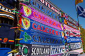 2nd February 2019, Murrayfield Stadium, Edinburgh, Scotland; Guinness Six Nations Rugby Championship, Scotland versus Italy; The scarf seller expects to do well in the cold weather