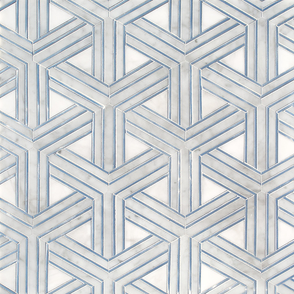 Y Weave, a stone waterjet mosaic, show in  honed Dolomite, Carrara, and Zinc liners, is part of the Miraflores Collection by Paul Schatz for New Ravenna.