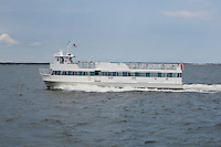 Fire Island ferry sails into the Great South Bay to the Bay Shore terminal in Bay Shore, NY, Wednesday August 3, 2011.