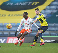 Blackpool's Viv Solomon-Otabor battles with Oxford United's Canice Carroll<br /> <br /> Photographer Mick Walker/CameraSport<br /> <br /> The EFL Sky Bet League One - Oxford United v Blackpool - Saturday 6th January 2018 - Kassam Stadium - Oxford<br /> <br /> World Copyright &copy; 2018 CameraSport. All rights reserved. 43 Linden Ave. Countesthorpe. Leicester. England. LE8 5PG - Tel: +44 (0) 116 277 4147 - admin@camerasport.com - www.camerasport.com