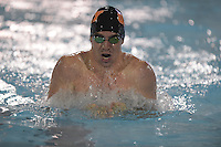 Feb 22, 2015; Whittier, CA, USA; Hank Franscioni of Occidental College competes in the 200-yard breaststrokeat the SCIAC swimming championships at Whittier College. Photo by Kirby Lee