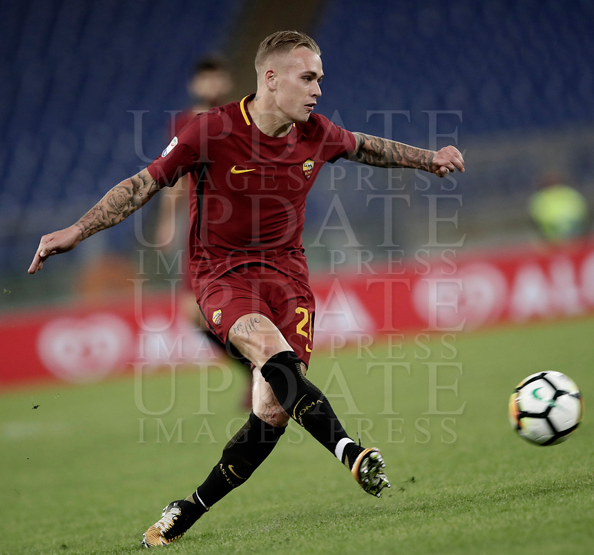 Calcio, Serie A: Roma, stadio Olimpico, 25 ottobre 2017.<br /> Roma's Rick Karsdorp in action with during the Italian Serie A football match between AS Roma and Crotone at Rome's Olympic stadium, October 25, 2017.<br /> UPDATE IMAGES PRESS/Isabella Bonotto