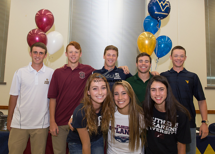 A group of seven Vandegrift seniors signed letters of intent to continue their athletic careers at the next level. From back left, Lucas Mylet, Jack Gaither, Gray Goolsby, Garrett Jones, Phillip Ahern, Andrea Stapper, Danielle Cuteri, and Sarah Rovenstine.