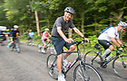August 16, 2017; John Affleck-Graves, Executive Vice President, enjoys a morning spin on day 3 of ND Trail. The pilgrims biked 23.2 miles and walked 7.8 from Pimento to Bridgeton. As part of the University's 175th anniversary celebration, the Notre Dame Trail will commemorate Father Sorin and the Holy Cross Brothers' journey. A small group of pilgrims will make the entire 300+ mile journey from Vincennes to Notre Dame over  two weeks.(Photo by Barbara Johnston/University of Notre Dame)