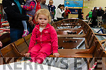 Lily Ann Foley from Sneem tries out one of the boats for size at the Kerry Coastal Rowing Exhibition in Glenbeigh on Sunday.