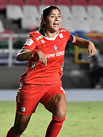 CALI - COLOMBIA, 30-08-2019: Catalina Usme de América celebra después de anotar el segundo gol de su equipo durante partido por los cuartos de final vuelta de la Liga Femenina Aguila 2019 entre América de Cali y Atlético Nacional jugado en el estadio Pascual Guerrero de la ciudad de Cali. / Catalina Usme of America celebrates after scoring the second goal of his team during second leg match for the quaterfinals as part of Aguila Women League 2019 between America de Cali and Atletico Nacional played at Pascual Guerrero stadium in Cali. Photo: VizzorImage / Gabriel Aponte / Staff