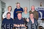 The Old Killarney Inn golf society winning team Brian O'Leary, John Daly and Tadhg Healy with the Ciss Cronin memorial cup in the Old Killarney Inn on Saturday night back row; Sheila O'Donoghue, Gene Cronin, Brid Lynch and Donal O'Reilly