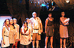 Curtain Call - Colleen Zenk - Anticleia & cast - Dress Rehearsal of Odyssey - The Epic Musical starring Colleen Zenk, Eddie Korbich, Josh A. Davis, Emma Zaks and Janine Divita and cast on October 21, 2011 at the American Theatre of Actors, New York City, New York. (Photo by Sue Coflin/Max Photos)