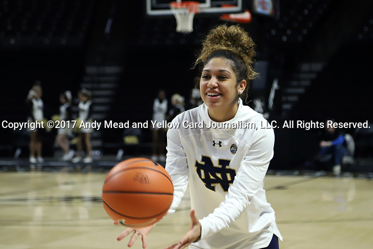 WINSTON-SALEM, NC - DECEMBER 31: Notre Dame's Mychal Johnson. The Wake Forest University Demon Deacons hosted the Notre Dame University Fighting Irish on December 31, 2017 at Lawrence Joel Veterans Memorial Coliseum in Winston-Salem, NC in a Division I women's college basketball game. Notre Dame won the game 96-73.