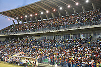 MONTERIA - COLOMBIA, 28-07-2019: Hinchas de Jaguares animan a su equipo durante el partido por la fecha 3 de la Liga Águila II 2019 entre Jaguares de Córdoba F.C. y Atlético Nacional jugado en el estadio Jaraguay de la ciudad de Montería. / Fans of Jaguares cheer for their team during match for the date 3 as part Aguila League II 2019 between Jaguares de Corrdoba F.C. and Atletico Nacional played at Jaraguay stadium in Monteria city. Photo: VizzorImage / Andres Rios / Cont