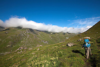 Above the Val de Moiry, along stage 10 of the Walker's Haute Route, between Cabane de Moiry and Zinal, Switzerland.