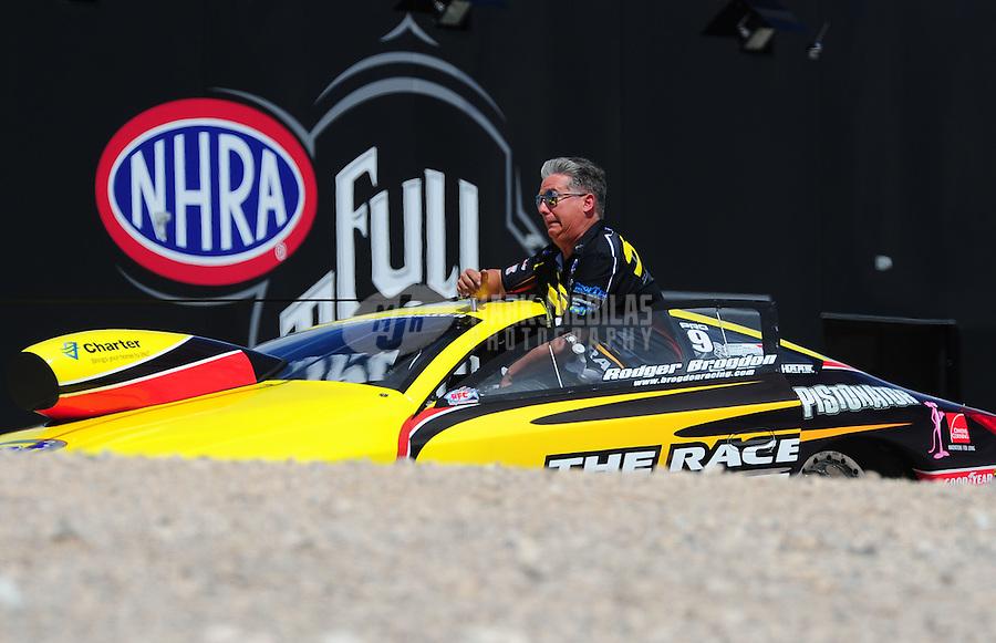 Apr. 2, 2011; Las Vegas, NV, USA: NHRA pro stock driver Rodger Brogdon during qualifying for the Summitracing.com Nationals at The Strip in Las Vegas. Mandatory Credit: Mark J. Rebilas-