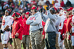 Wisconsin Badgers Head Coach Paul Chryst, center, looks on from the sidelines during an NCAA College Big Ten Conference football game against the Minnesota Golden Gophers Saturday, November 25, 2017, in Minneapolis, Minnesota. The Badgers won 31-0. (Photo by David Stluka)