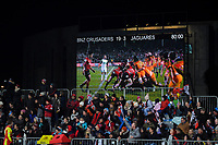 The final scoreboard of the 2019 Super Rugby final between the Crusaders and Jaguares at Orangetheory Stadium in Christchurch, New Zealand on Saturday, 6 July 2019. Photo: Dave Lintott / lintottphoto.co.nz