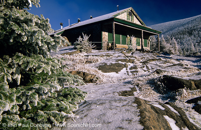 Appalachian Trail - Galehead Hut located at 3800 feet on the Garfield Ridge in the scenic landscape of the White Mountains, New Hampshire USA. The original Galehead Hut was built in 1931 and offers views into the Pemigewasset Wilderness.