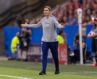 LYON,  - JULY 2: Jill Ellis talks to her team during a game between England and USWNT at Stade de Lyon on July 2, 2019 in Lyon, France.