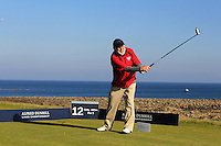 John Tyson (AM) on the 12th tee during Round 2 of the 2015 Alfred Dunhill Links Championship at Kingsbarns in Scotland on 2/10/15.<br /> Picture: Thos Caffrey | Golffile