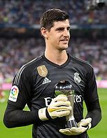Thibaut Courtois of Real Madrid during the match between Real Madrid v Atletico Madrid of LaLiga, date 7, 2018-2019 season. Santiago Bernabéu Stadium. Madrid, Spain - 29 SEP 2018.