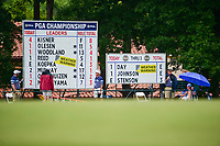 Weather warnings are posted while Day, DJ and Stenson on on the 4th green putting during Friday's round 2 of the PGA Championship at the Quail Hollow Club in Charlotte, North Carolina. 8/11/2017.<br /> Picture: Golffile | Ken Murray<br /> <br /> <br /> All photo usage must carry mandatory copyright credit (&copy; Golffile | Ken Murray)