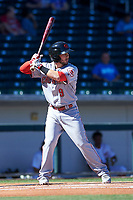 Scottsdale Scorpions second baseman Blake Trahan (9), of the Cincinnati Reds organization, at bat during an Arizona Fall League game against the Mesa Solar Sox on October 24, 2017 at Sloan Park in Mesa, Arizona. The Scorpions defeated the Solar Sox 3-1. (Zachary Lucy/Four Seam Images)