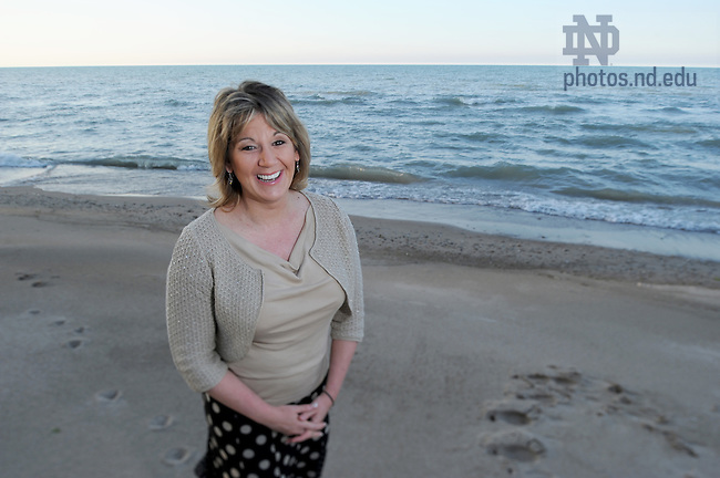 Molly Callahan at the Kenilworth Beach in Kenilworth, IL..Photo by Matt Cashore/University of Notre Dame