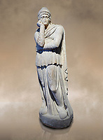 Roman statue of Arris, 3rd century AD from Hierapolis. Hierapolis Archaeology Museum, Turkey. Against an art background