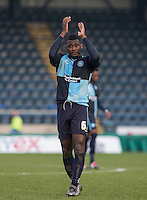 Aaron Pierre of Wycombe Wanderers applauds the support during the Sky Bet League 2 match between Wycombe Wanderers and Stevenage at Adams Park, High Wycombe, England on 12 March 2016. Photo by Andy Rowland/PRiME Media Images.