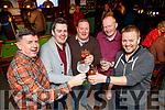 Paul Riordan, Martin Hobbert, Declan O'Connell, Jonathan Goodall, Jason O'Regan, celebrating Men's Christmas in the Castle Bar, Tralee, on Friday night last.