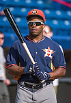 10 March 2014: Houston Astros outfielder Delino DeShields Jr. awaits his turn in the batting cage prior to a Spring Training game against the Washington Nationals at Space Coast Stadium in Viera, Florida. The Astros defeated the Nationals 7-4 in Grapefruit League play. Mandatory Credit: Ed Wolfstein Photo *** RAW (NEF) Image File Available ***