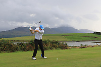 Robert Jacob (Enniscrone) on the 15th tee during the Final of the Junior Cup in the AIG Cups & Shields Connacht Finals 2019 in Westport Golf Club, Westport, Co. Mayo on Thursday 8th August 2019.<br /> <br /> Picture:  Thos Caffrey / www.golffile.ie<br /> <br /> All photos usage must carry mandatory copyright credit (© Golffile | Thos Caffrey)
