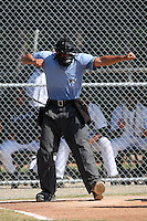 Home plate umpire Dustin Klinghagen during an Instructional League game between the Detroit Tigers and Philadelphia Phillies at Tiger Town in Lakeland, Florida;  October 13, 2010.  Photo By Mike Janes/Four Seam Images