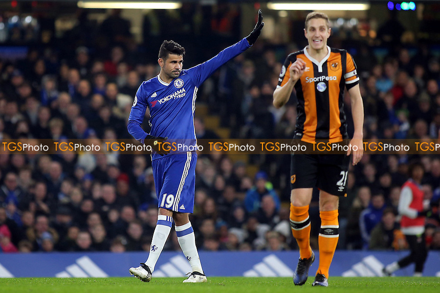 Chelsea's Diego Costa acknowledges the home fans as they cheer his name during Chelsea vs Hull City, Premier League Football at Stamford Bridge on 22nd January 2017