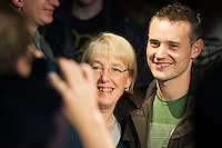 Patty Murray poses for a photo with a Seattle supporter during the Senator's election rally at Neumos, Seattle, WA on Monday, Nov. 1, 2010.
