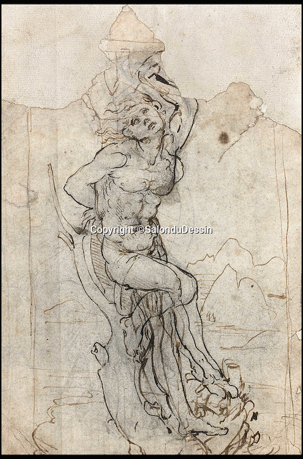BNPS.co.uk (01202 558833)<br /> Pic: SalonduDessin/BNPS<br /> <br /> An extraordinary lost drawing by Leonardo Da Vinci valued at £12million has been discovered 530 years after the Italian master produced it.<br /> <br /> The work was found hidden in a portfolio of anonymous sketches inherited by a retired doctor who had no idea it was inside.<br /> <br /> It was only when he took the drawings to an auction house for valuation that the previously unknown Da Vinci drawing was revealed.<br /> <br /> The drawing, measuring about 7.5ins by 5ins, depicts the martyred St Sebastian tied to a tree. It is inscribed 'Michelange' (Michelangelo) on the mount.