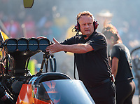Jun 15, 2018; Bristol, TN, USA; Crew members for NHRA top fuel driver Mike Salinas during qualifying for the Thunder Valley Nationals at Bristol Dragway. Mandatory Credit: Mark J. Rebilas-USA TODAY Sports