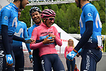 Jose Joaquin Rojas (ESP) jokes around with birthday boy Maglia Rosa Richard Carapaz (ECU) Movistar Team at sign on before Stage 17 of the 2019 Giro d'Italia, running 181km from Commezzadura (Val di Sole) to Anterselva / Antholz, Italy. 29th May 2019<br /> Picture: Gian Mattia D'Alberto/LaPresse | Cyclefile<br /> <br /> All photos usage must carry mandatory copyright credit (© Cyclefile | Gian Mattia D'Alberto/LaPresse)